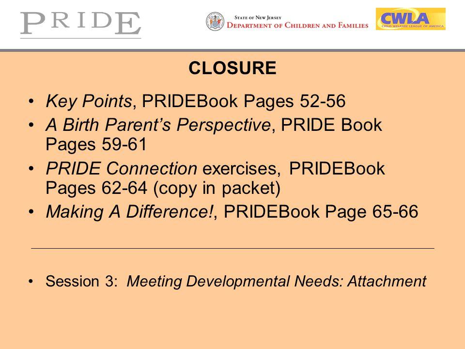 Key Points, PRIDEBook Pages 52-56
