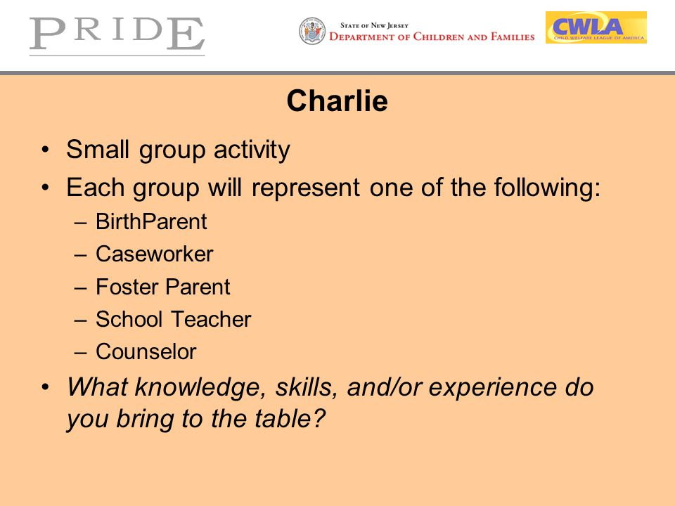 Charlie Small group activity