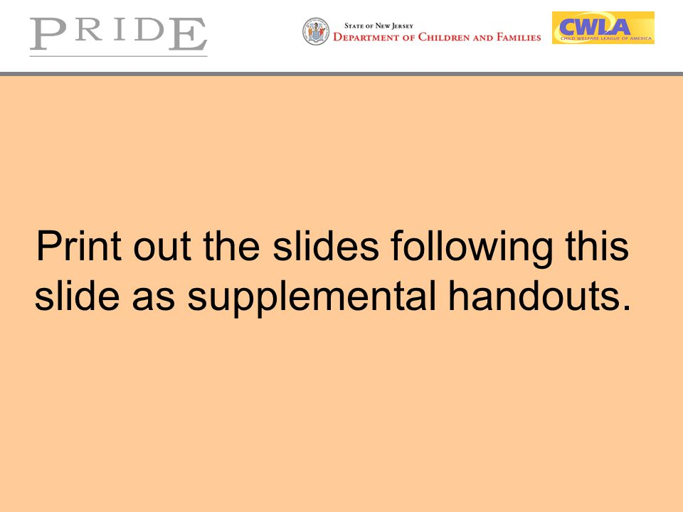 Print out the slides following this slide as supplemental handouts.
