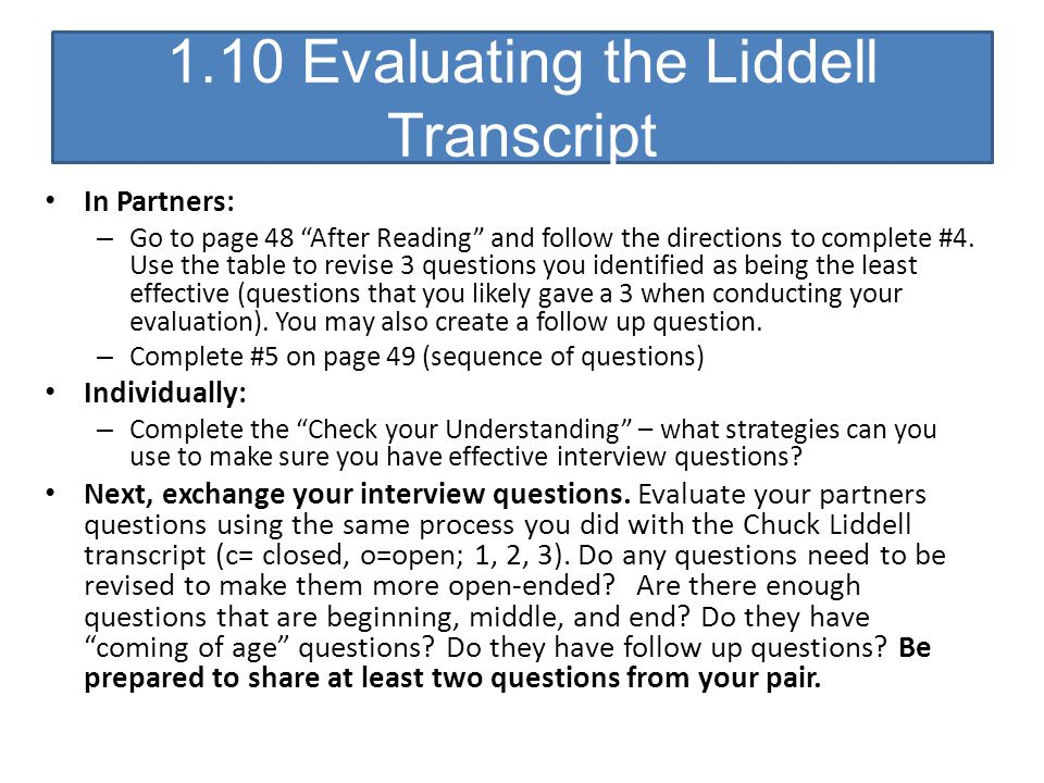 1.10 Evaluating the Liddell Transcript