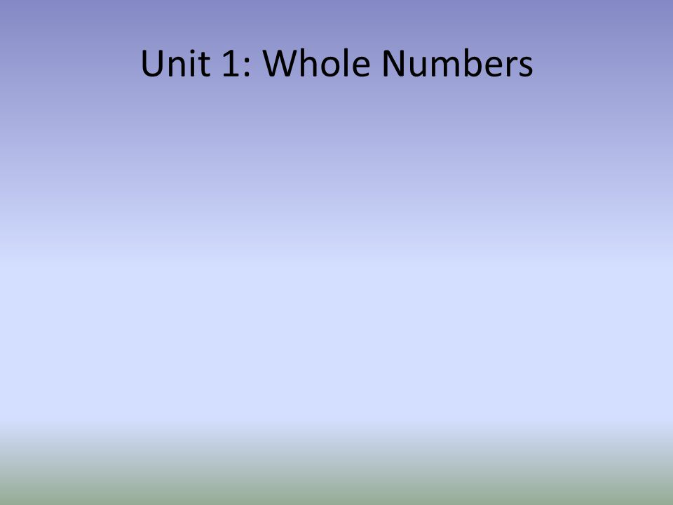 Unit 1: Whole Numbers
