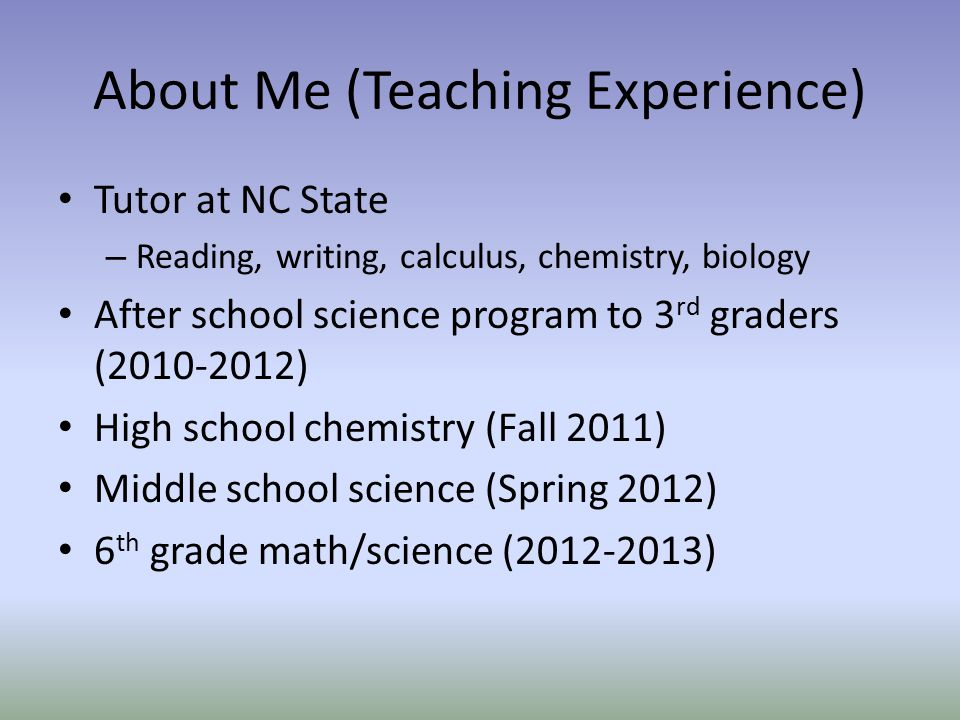 About Me (Teaching Experience)