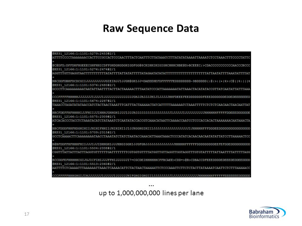 Raw Sequence Data ... up to 1,000,000,000 lines per lane