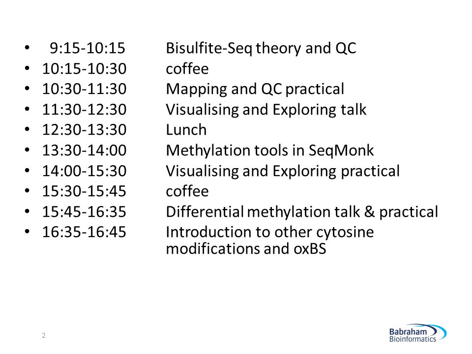 9:15-10:15 Bisulfite-Seq theory and QC