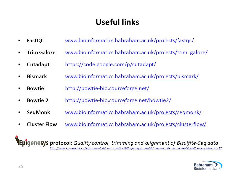 Useful links FastQC www.bioinformatics.babraham.ac.uk/projects/fastqc/