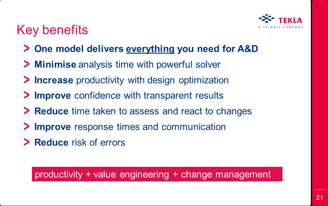Key benefits One model delivers everything you need for A&D