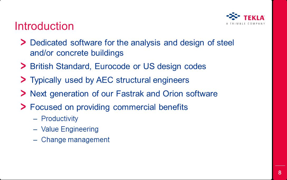 Introduction Dedicated software for the analysis and design of steel and/or concrete buildings. British Standard, Eurocode or US design codes.