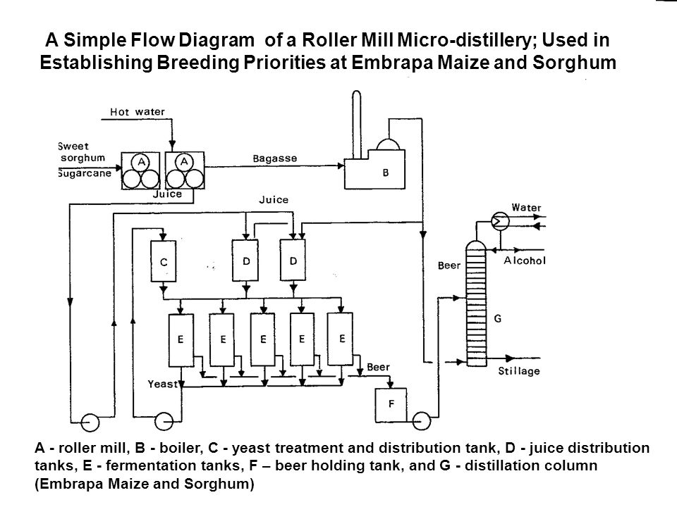 A Simple Flow Diagram of a Roller Mill Micro-distillery; Used in Establishing Breeding Priorities at Embrapa Maize and Sorghum