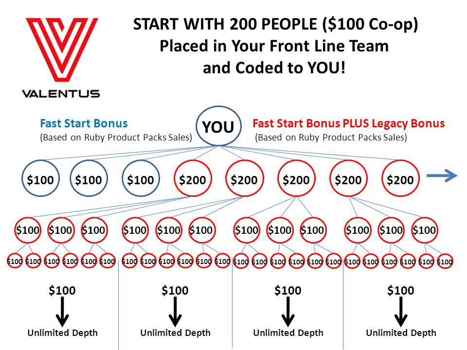 START WITH 200 PEOPLE ($100 Co-op) Placed in Your Front Line Team and Coded to YOU!