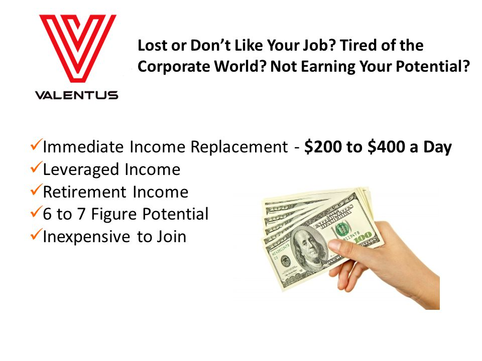Immediate Income Replacement - $200 to $400 a Day Leveraged Income