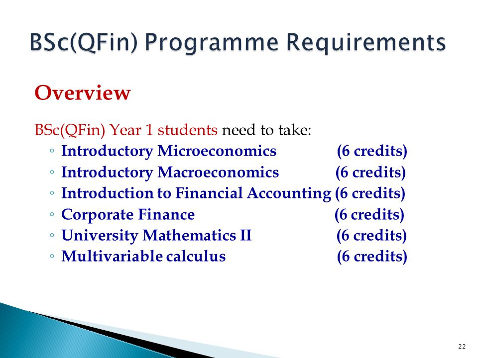 BSc(QFin) Programme Requirements