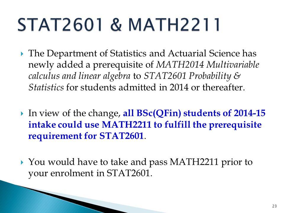 STAT2601 & MATH2211