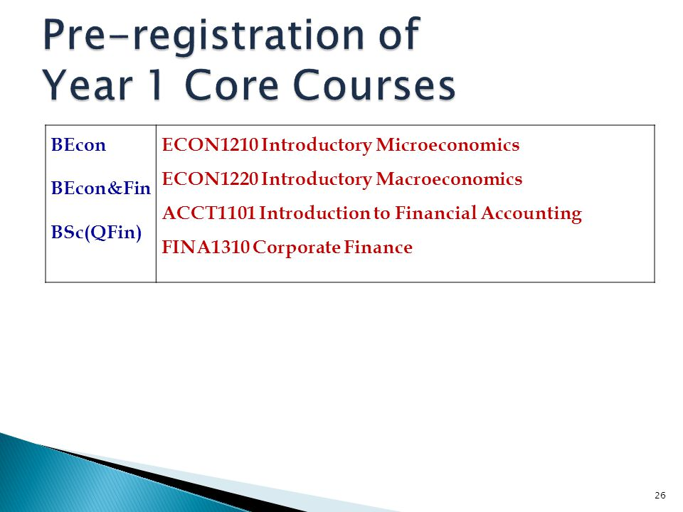 Pre-registration of Year 1 Core Courses