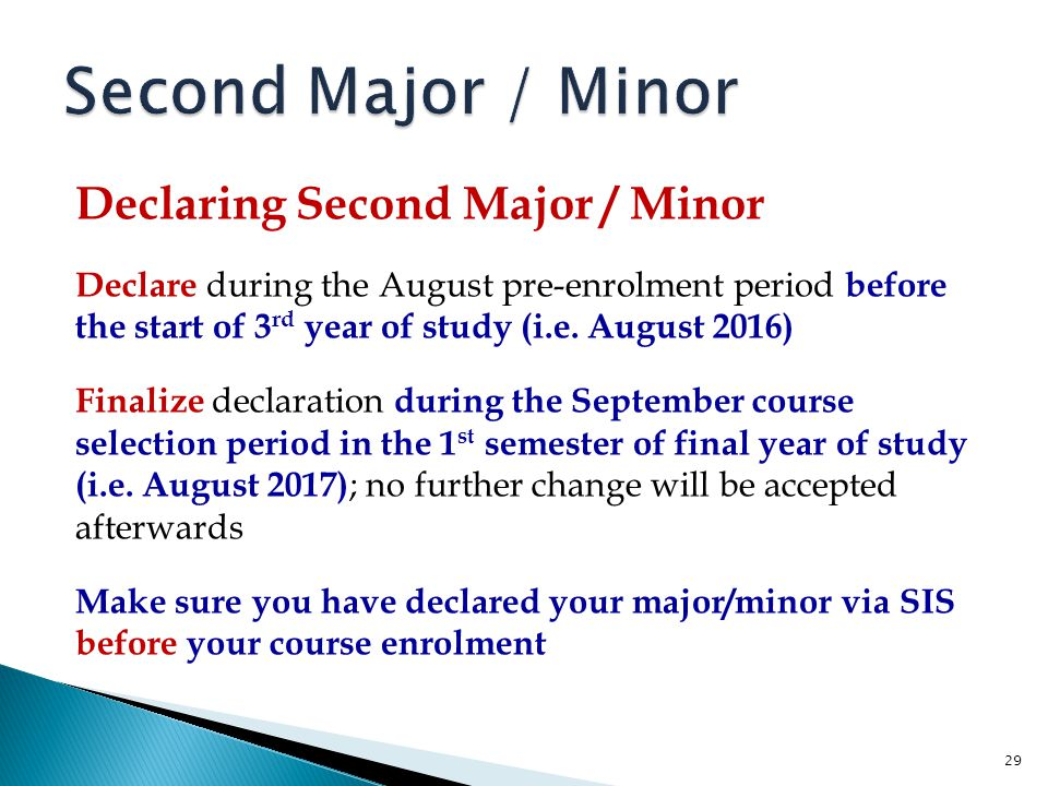 Second Major / Minor Declaring Second Major / Minor