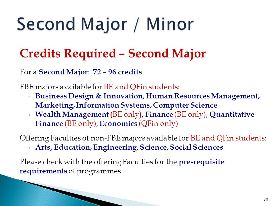 Second Major / Minor Credits Required – Second Major