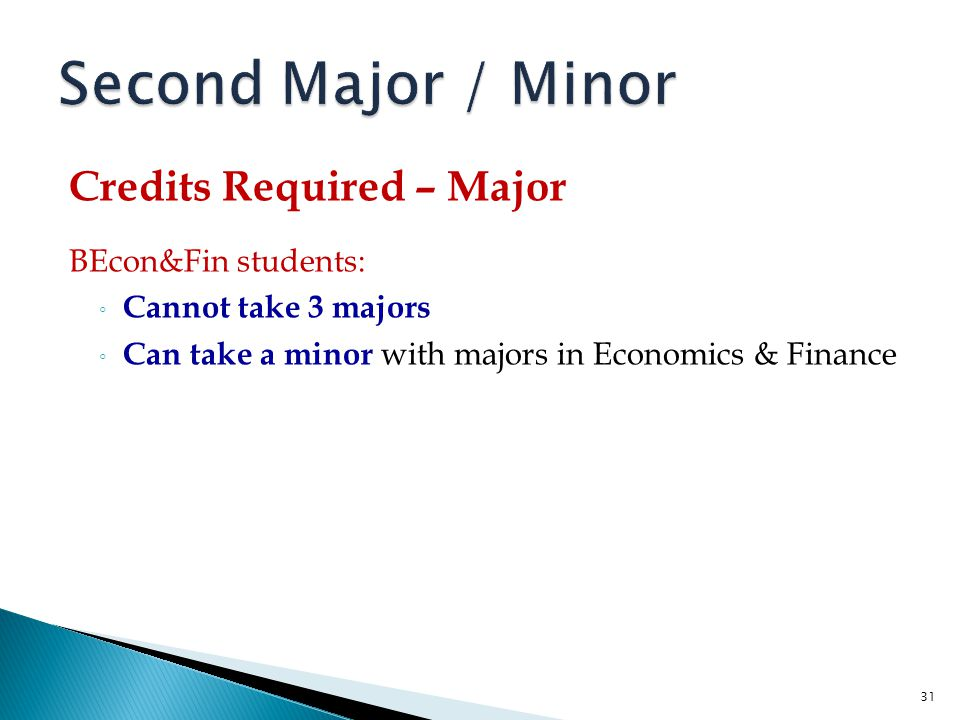 Second Major / Minor Credits Required – Major BEcon&Fin students: