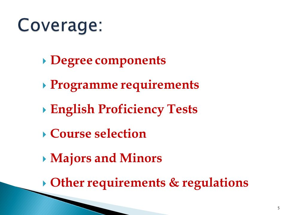 Coverage: Degree components Programme requirements