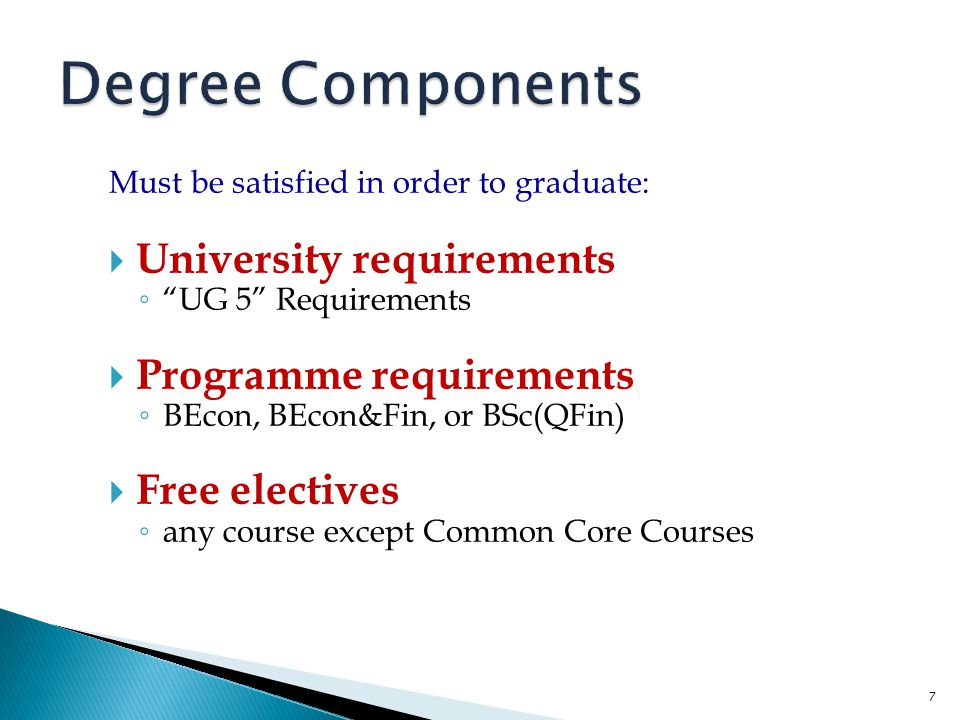 Degree Components University requirements Programme requirements