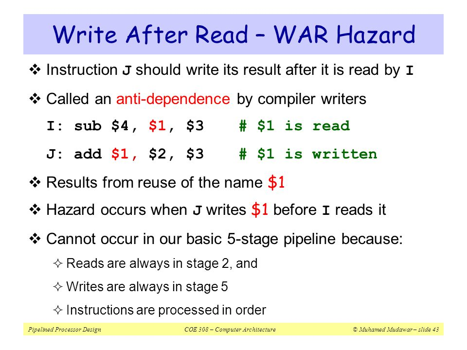 Write After Read – WAR Hazard