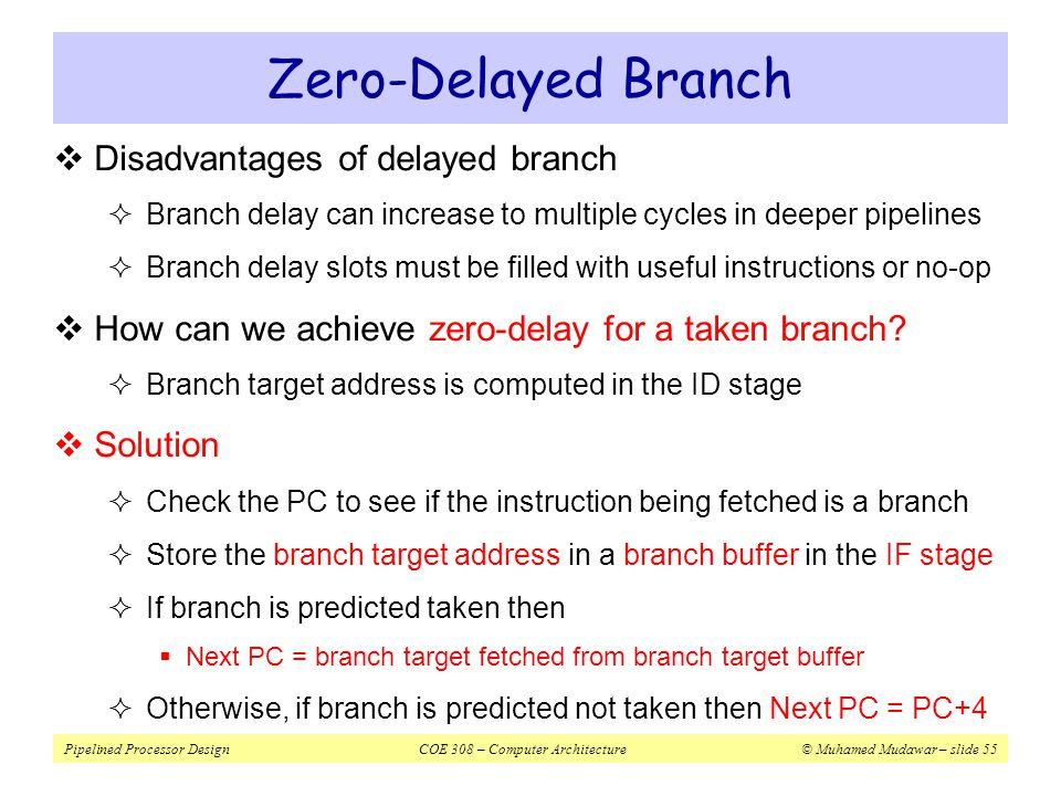 Zero-Delayed Branch Disadvantages of delayed branch