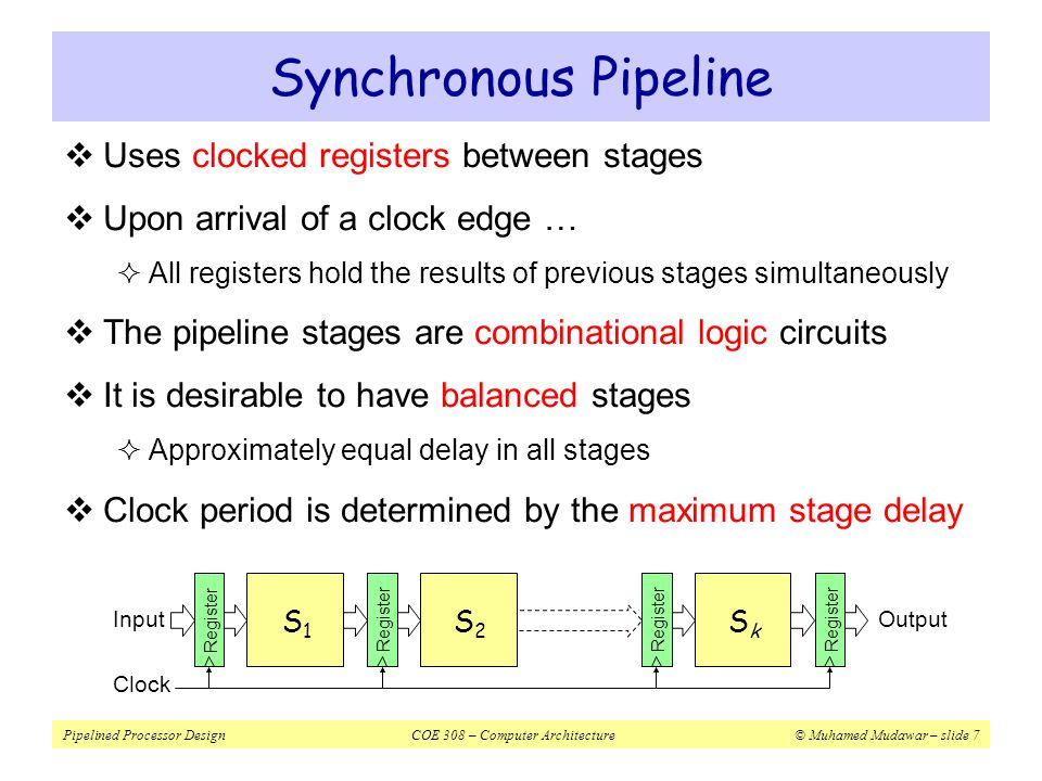 Synchronous Pipeline Uses clocked registers between stages