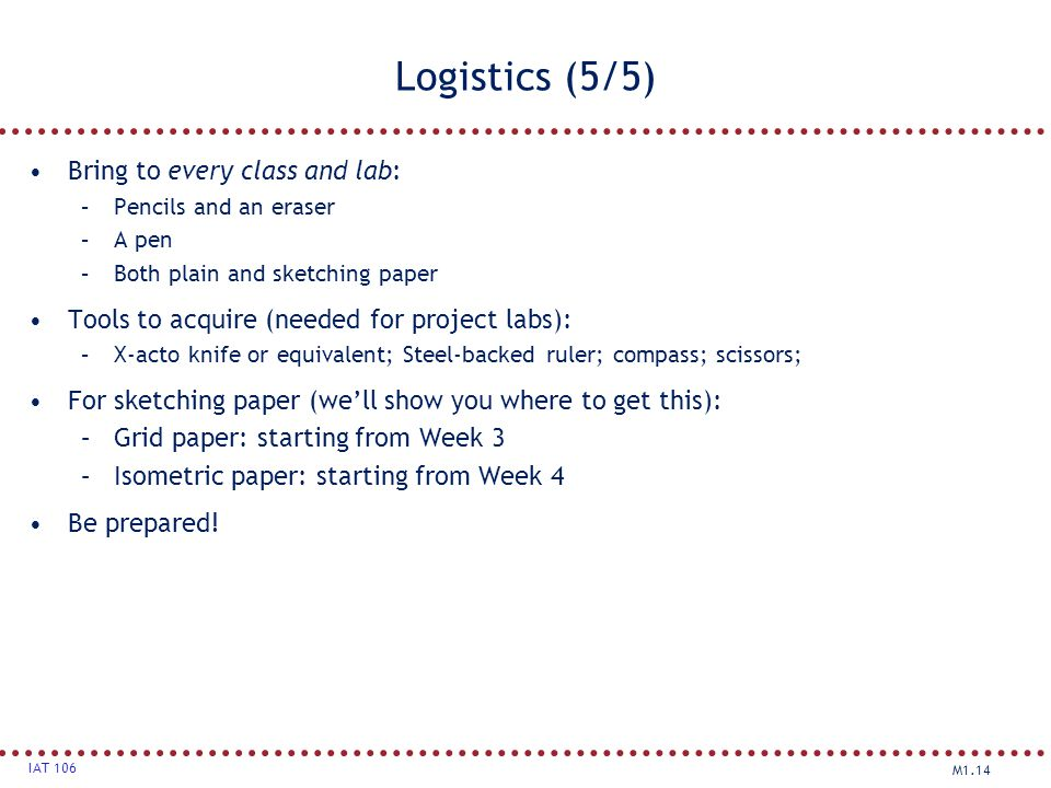 Logistics (5/5) Bring to every class and lab: