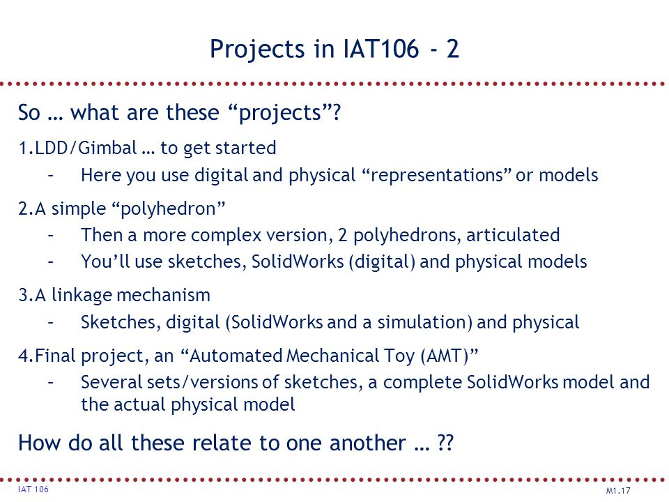 Projects in IAT106 - 2 So … what are these projects