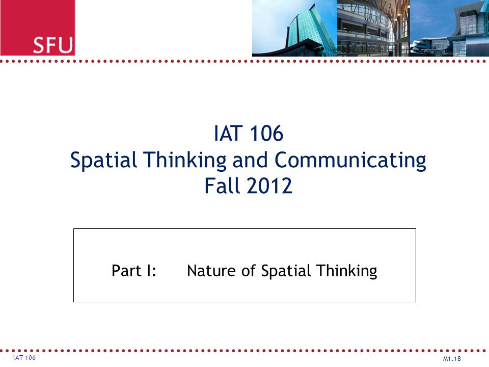 Part I: Nature of Spatial Thinking