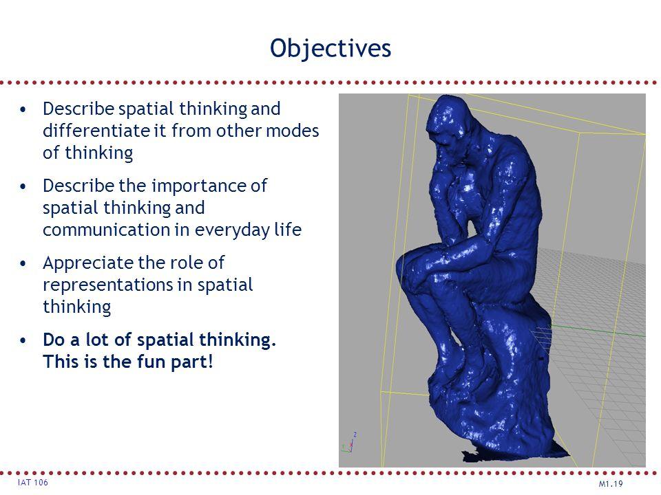 Objectives Describe spatial thinking and differentiate it from other modes of thinking.