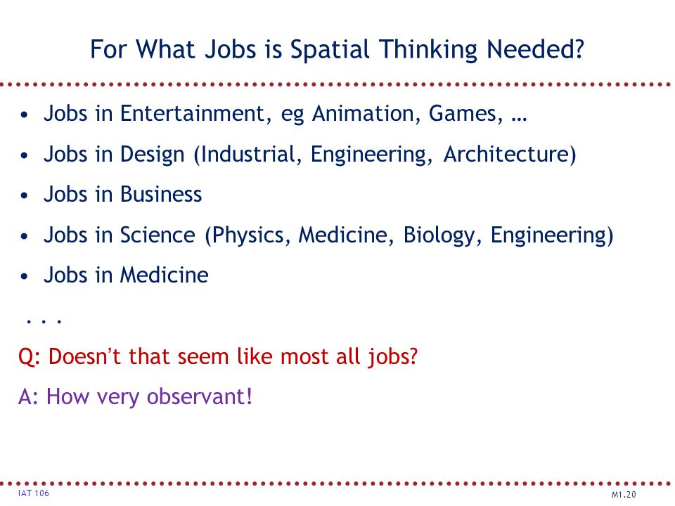 For What Jobs is Spatial Thinking Needed