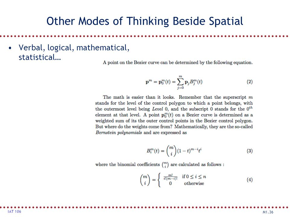 Other Modes of Thinking Beside Spatial
