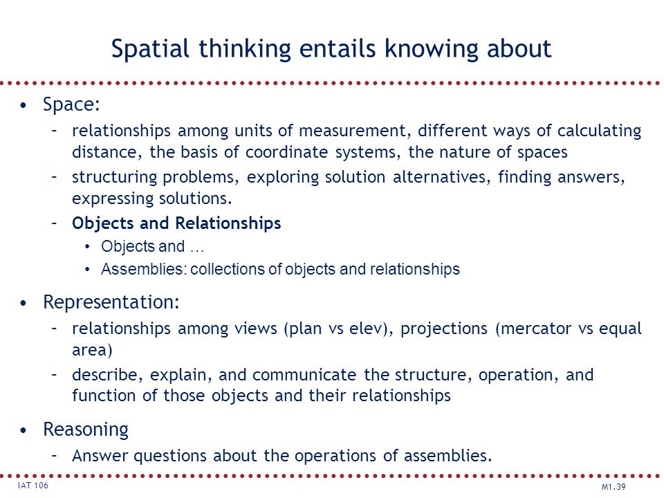 Spatial thinking entails knowing about