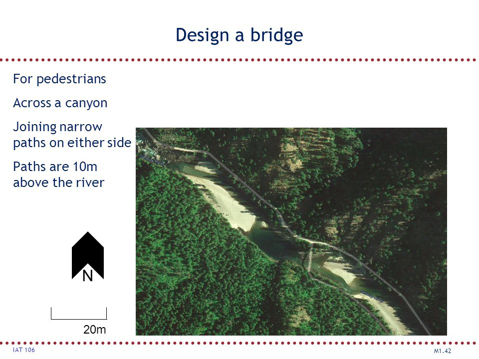 Design a bridge N For pedestrians Across a canyon