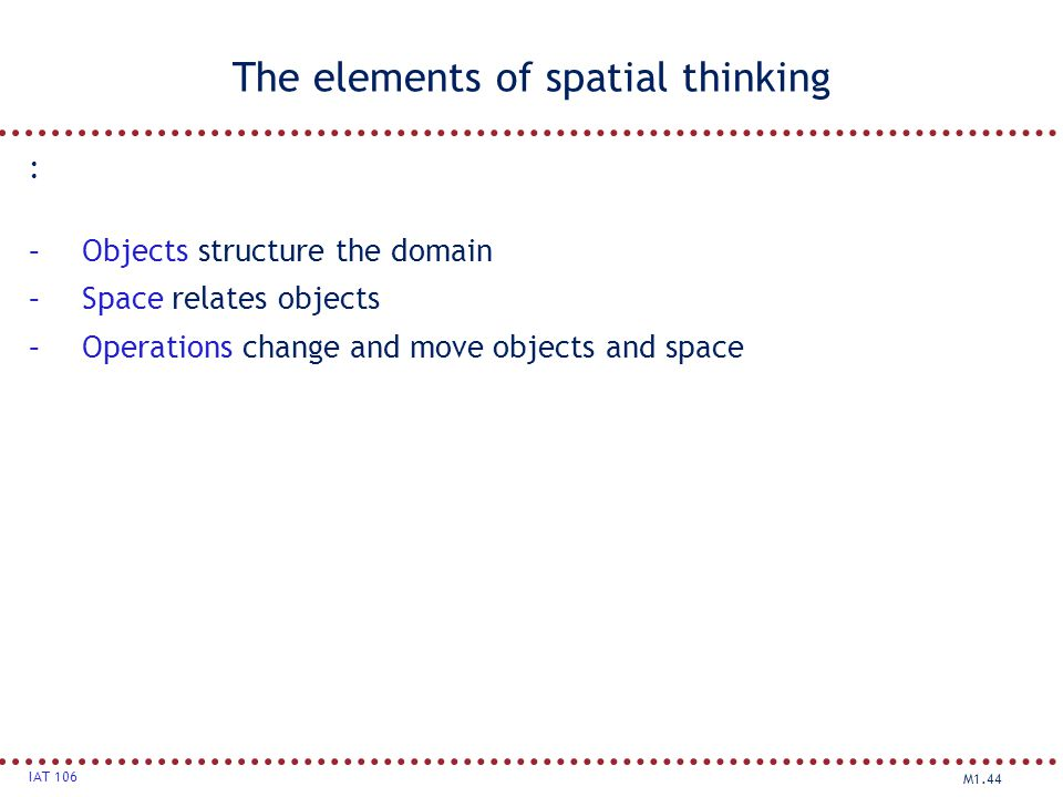 The elements of spatial thinking