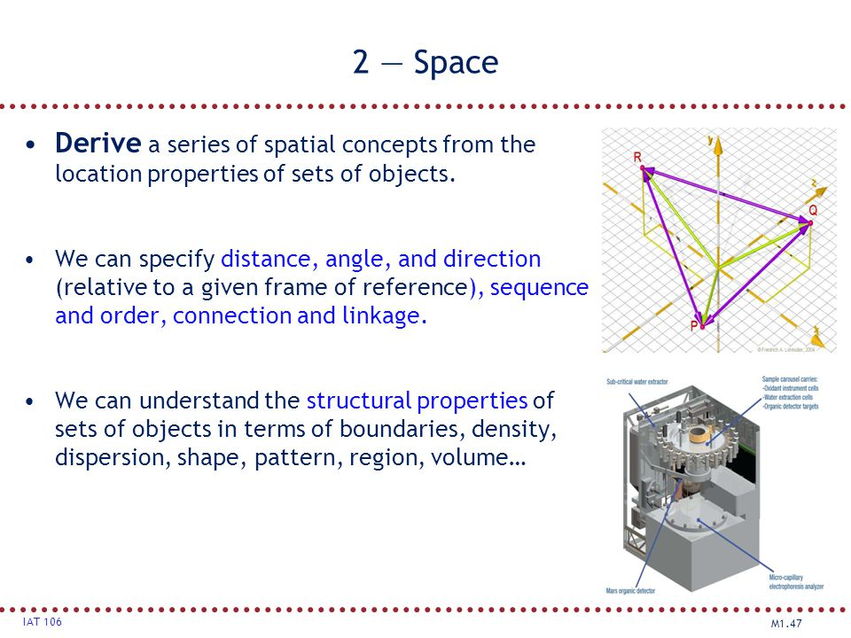 2 — Space Derive a series of spatial concepts from the location properties of sets of objects.