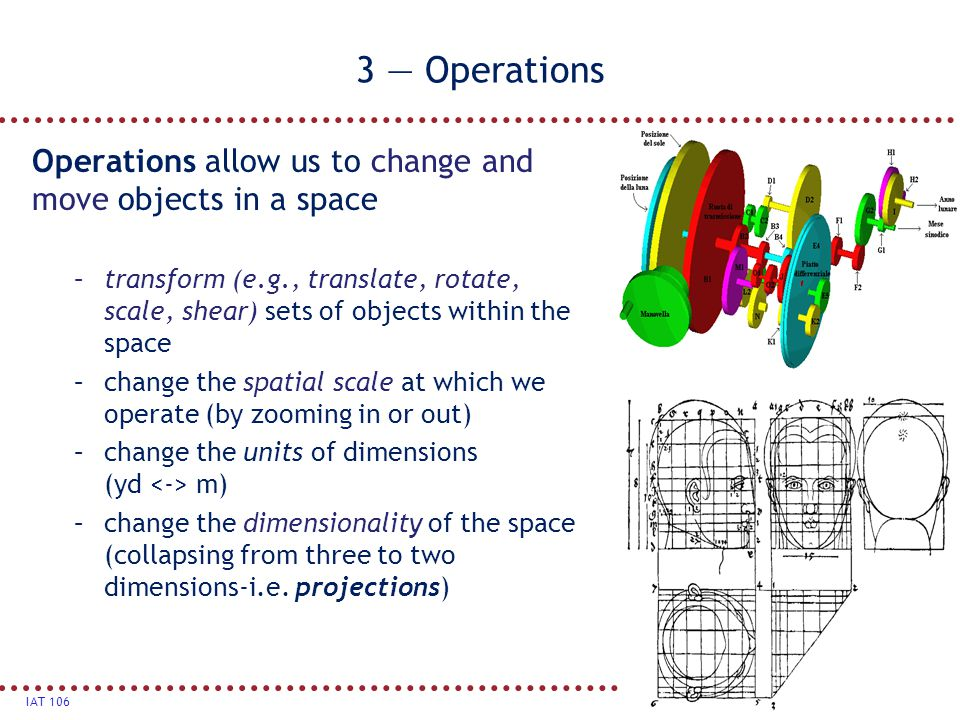 3 — Operations Operations allow us to change and move objects in a space.