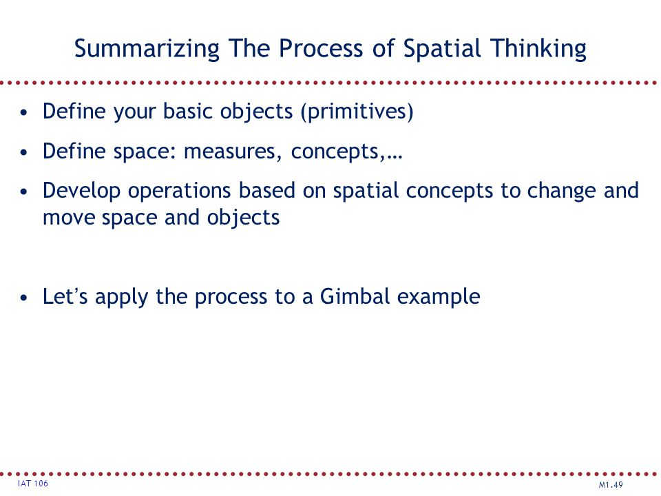 Summarizing The Process of Spatial Thinking
