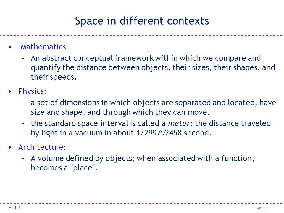 Space in different contexts