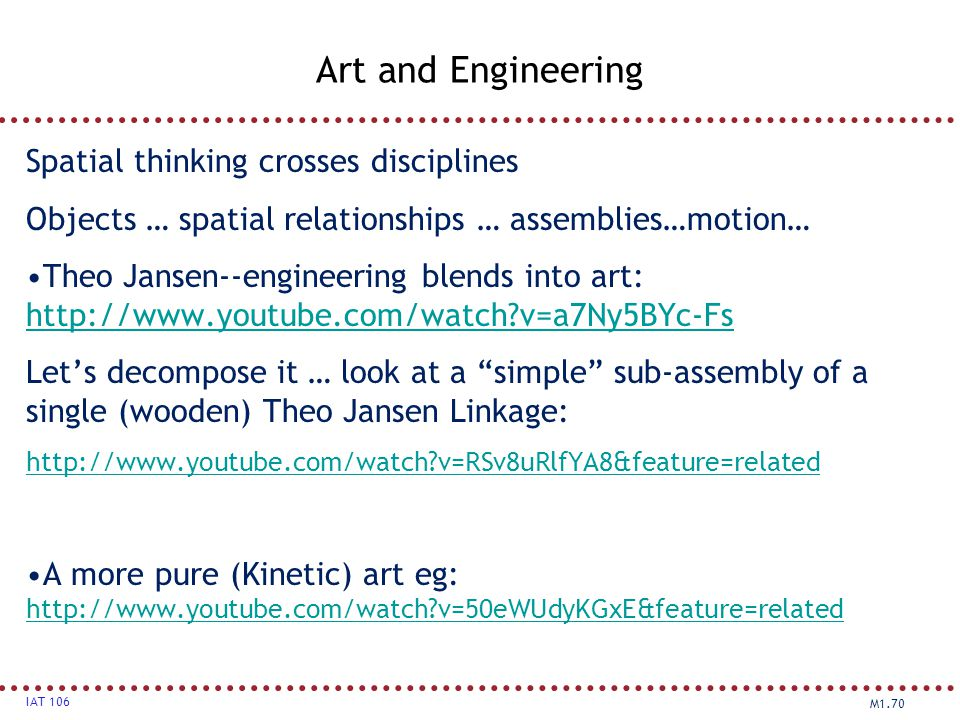 Art and Engineering Spatial thinking crosses disciplines