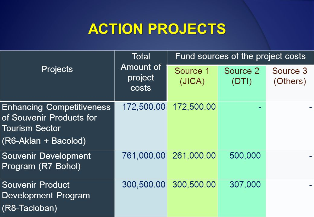 ACTION PROJECTS Projects Total Amount of project costs