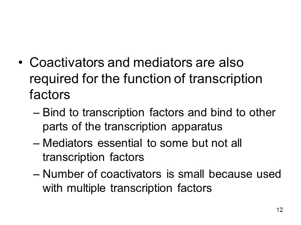 Coactivators and mediators are also required for the function of transcription factors