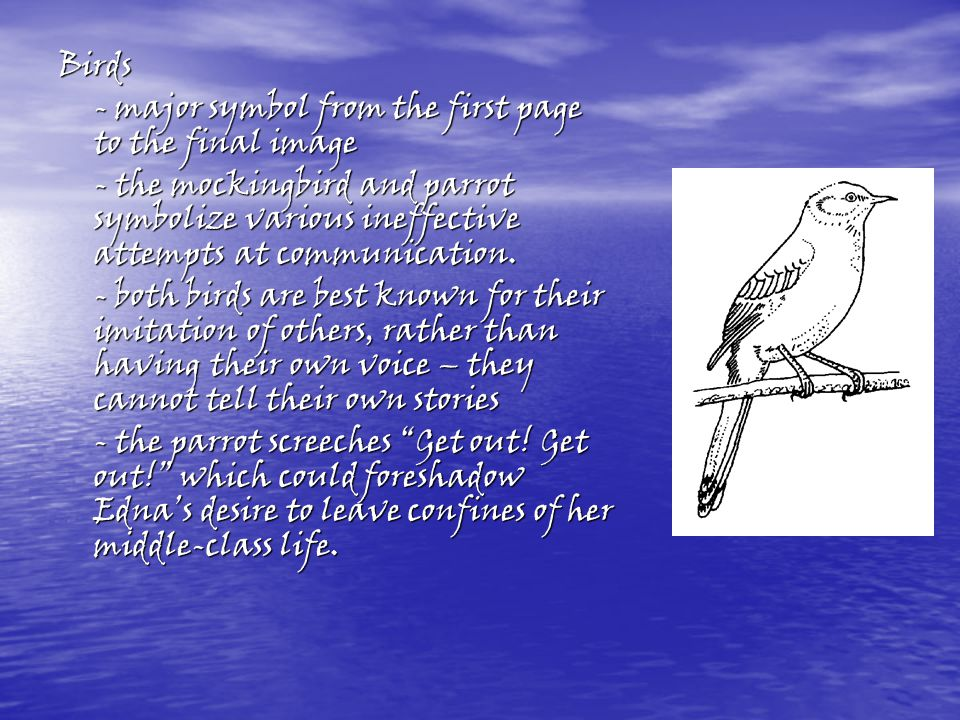 the major symbolic image in the awakening by kate chopin In kate chopin's novel, the awakening, the reader is introduced to edna pontellier, a  swim is a significant experience because it shows how she is able to gain control over  edna's desires through these symbolic birds.