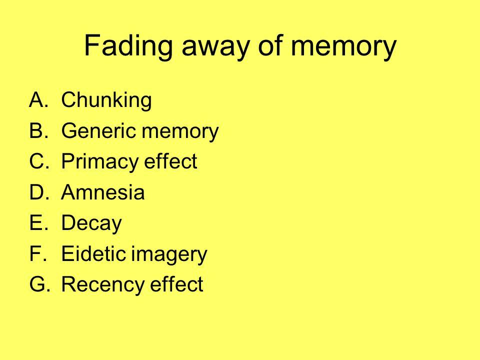 Fading away of memory Chunking Generic memory Primacy effect Amnesia