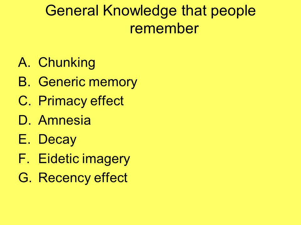 General Knowledge that people remember