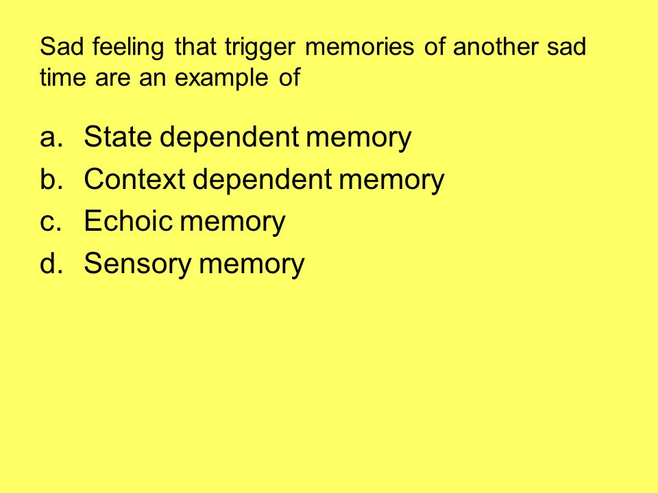State dependent memory Context dependent memory Echoic memory