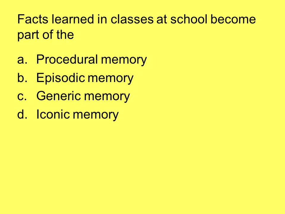 Facts learned in classes at school become part of the