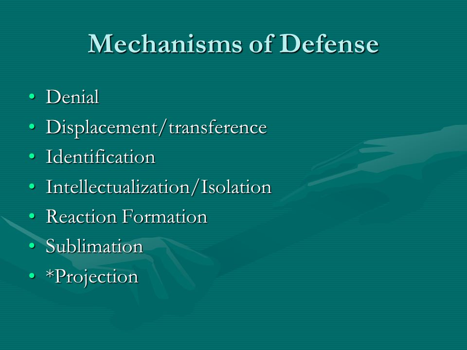 Mechanisms of Defense Denial Displacement/transference Identification