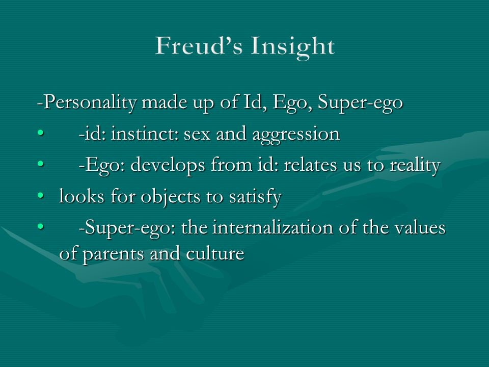 Freud's Insight -Personality made up of Id, Ego, Super-ego