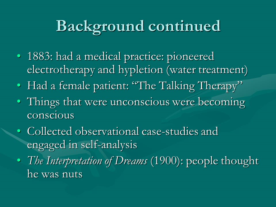 Background continued 1883: had a medical practice: pioneered electrotherapy and hypletion (water treatment)