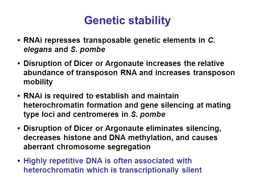 Genetic stability • RNAi represses transposable genetic elements in C. elegans and S. pombe.